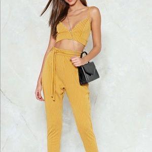 Mustard striped pant set